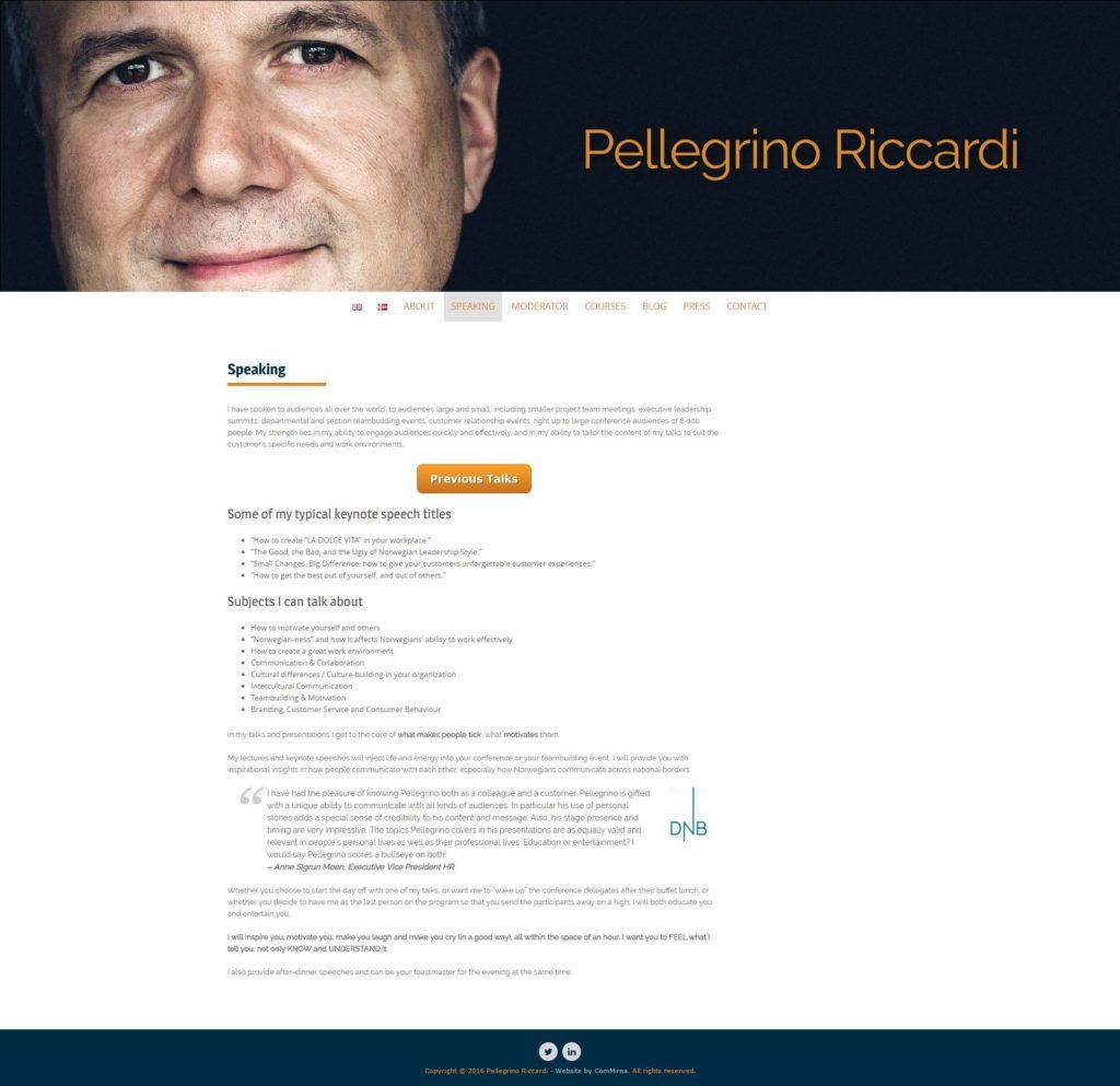 Nettside for Pellegrino Riccardi - Marie Elena Mathisen