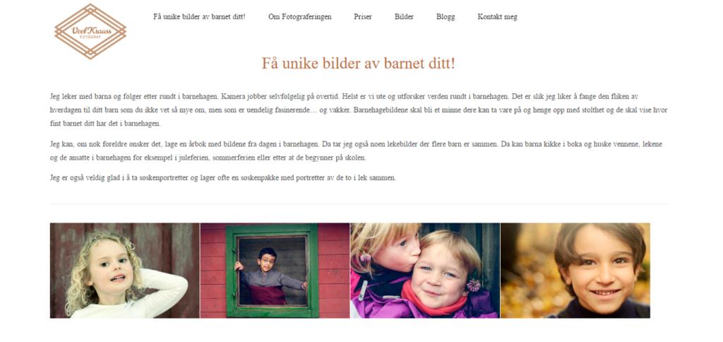 Nettside for Fotograf og Journalist Kjersti Veel Krauss - Eksempel Forside Barnehagefotograf - Marie Elena Mathisen