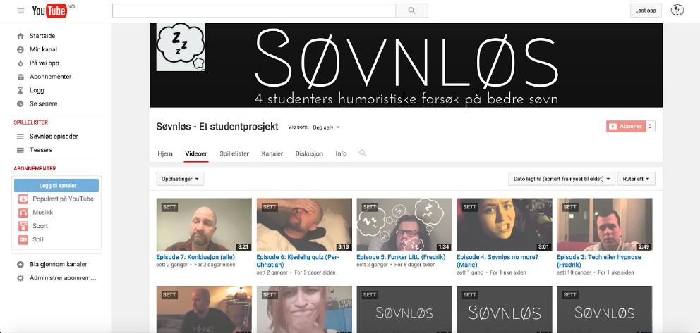 Kampanje i sosiale medier - YouTube-skjermbilde Søvnløs-case